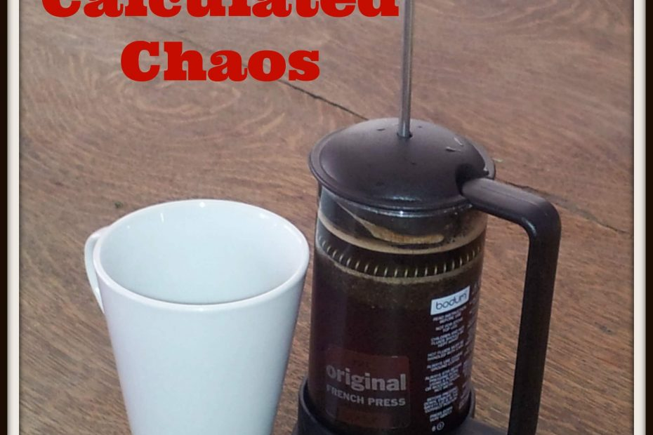 calculated chaos, coffee mug, french press, confidence & chaos history & mission
