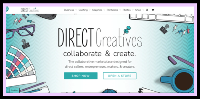 direct creatives screen shot. collaborate & create. a marketplace created by home-based entrepreneurs for home-based entrepreneurs.